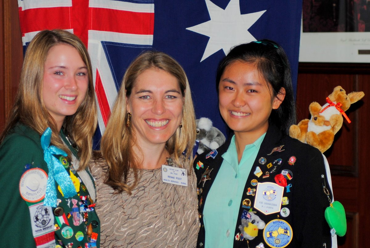 President Rene with Rotary Exchange Students